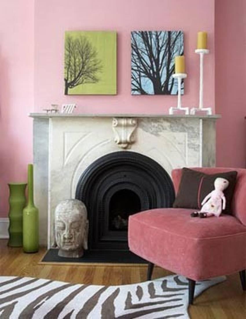 Розовый цвет в интерьере, сочетания цветов с розовым