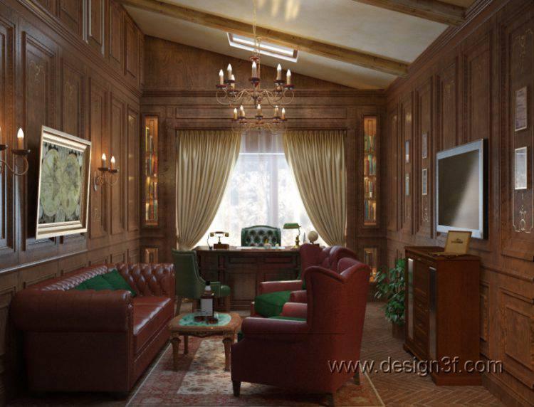 Интерьер кабинета в доме, квартире