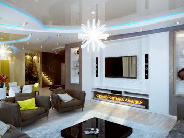 Современный дизайн кухни-гостиной в доме