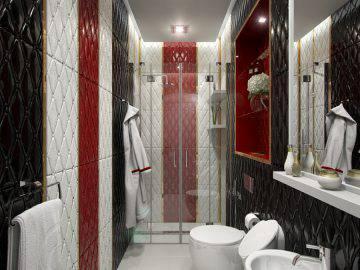 Белый, красный и черный в интерьере ванной комнаты