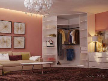 Радиусный шкаф в интерьере гостиной