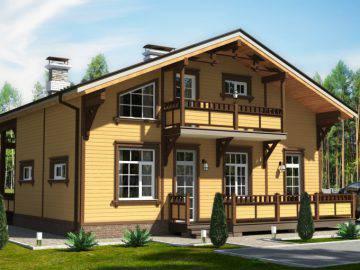 Дизайн фасада деревянного дома 160 м2