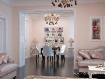 Интерьер гостиной и столовой в классическом стиле