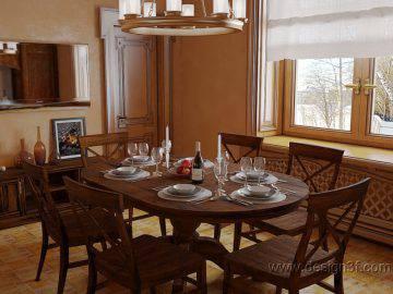 Интерьер классической кухни с потолочными балками
