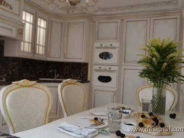 Кухня светлая, классический стиль