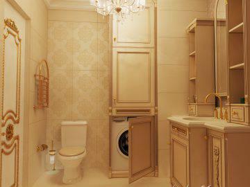 Дизайн классической ванной комнаты с душевой кабиной