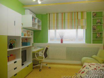Детская, оформление в желто-зеленом цвете