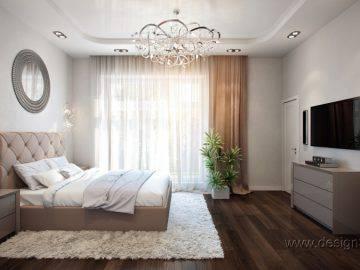 Стильный интерьер большой спальни
