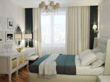 Дизайн интерьера белой спальни с бирюзовыми акцентами