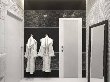 Душевая комната в черно-белом цвете