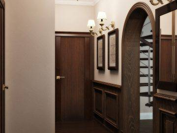 Дизайн прихожей с деревянными панелями