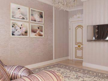 Интерьер комнаты с откидной кроватью