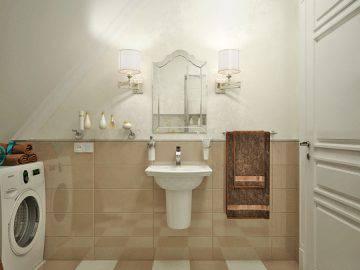 Интерьер ванной комнаты в песочных тонах