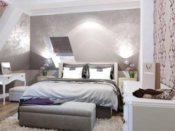 Стильный интерьер спальни на мансарде
