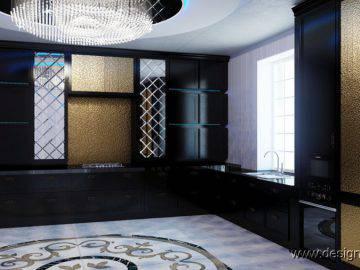 Кухня черного цвета в стиле ар деко