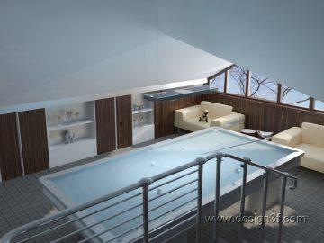 Современный интерьер дома с бассейном