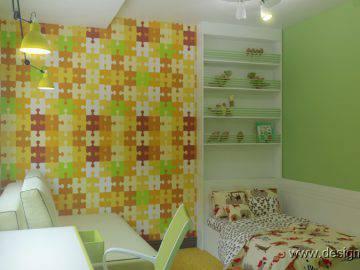 Детская комната желто-зеленого цвета