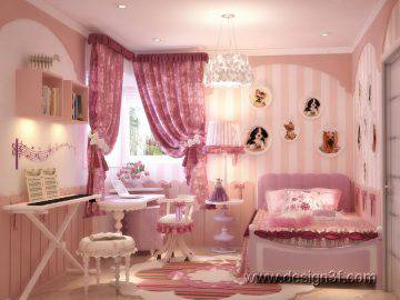 Дизайн детской комнаты в розовых тонах