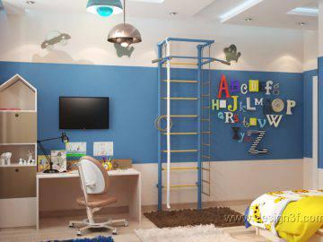 Детские комнаты синего цвета