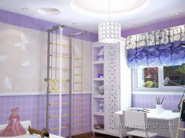 Дизайн интерьера детской комнаты в светло-фиолетовом цвете