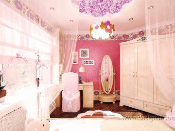 Розовая детская комната для девочек