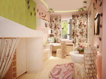 Дизайн интерьера детской комнаты с бабочками