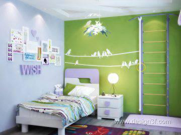 Дизайн интерьера детской комнаты салатового цвета