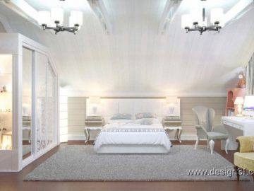 Большая светлая спальня в деревянном доме