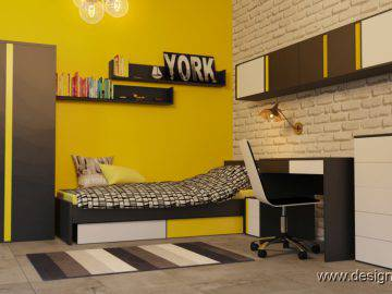 Интерьер детской комнаты черно-желтого цвета