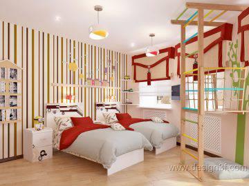 Современная детская комната для двоих детей