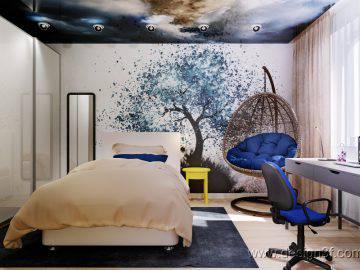 Натяжной потолок с арт-печатью в интерьере