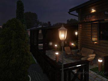 Дизайн фасада дома и бани из дерева