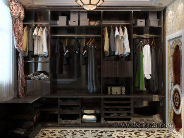 Интерьер гардеробной комнаты из темного дерева