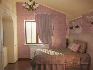 Интерьер спальни лавандового цвета