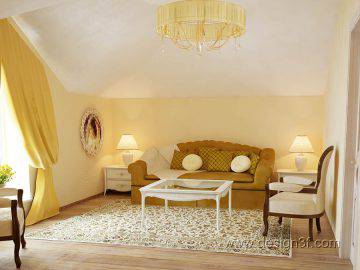 Желтый цвет в интерьере комнаты для гостей