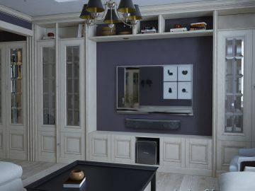 Фиолетовые оттенки в интерьере гостиной
