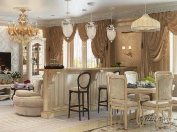 Гостиная совмещенная с кухней классика