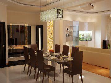 Дизайн гостиной-столовой, фото интерьера