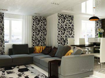 Интерьер гостиной в черно-белой гамме