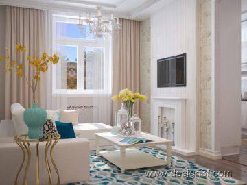 Дизайн интерьера светлой гостиной фото