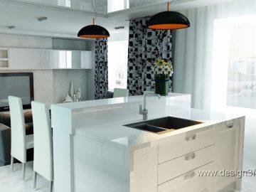 Черно белая кухня в студии
