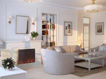 Дизайн интерьера гостиной в пастельных тонах
