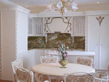 Дизайн интерьера кухни в стиле арт-нуво
