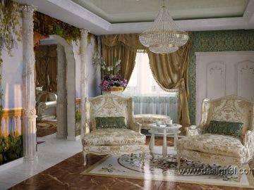 Роскошная классика в интерьере гостиной
