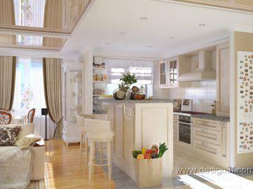 Дизайн-проект гостиной с кухней в квартире