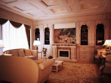 Гостиная в классическом стиле с элементами античности
