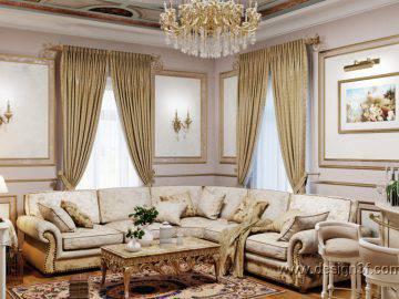 Дизайн светлой гостиной в классическом стиле