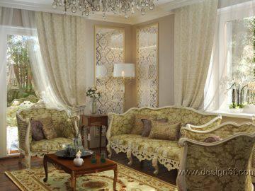 Дизайн гостиной-столовой в доме