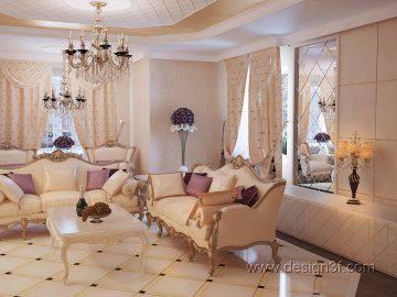Интерьер гостиной в стиле барокко