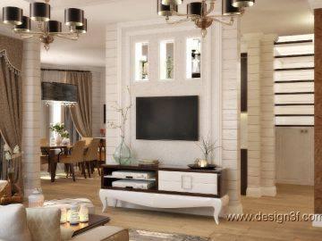 Классический интерьер гостиной в деревянном доме